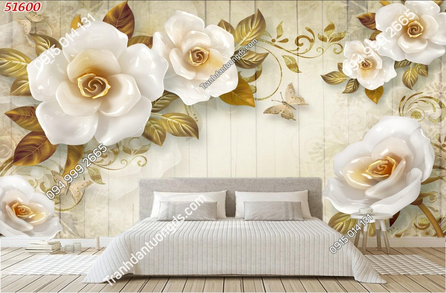 Tranh dán tường hoa 3D trắng giả ngọc 51600