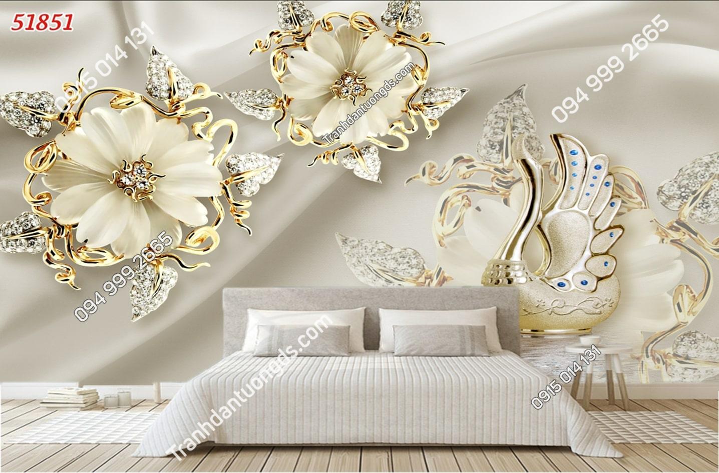 Tranh dán tường hoa 3D trắng giả ngọc 51851