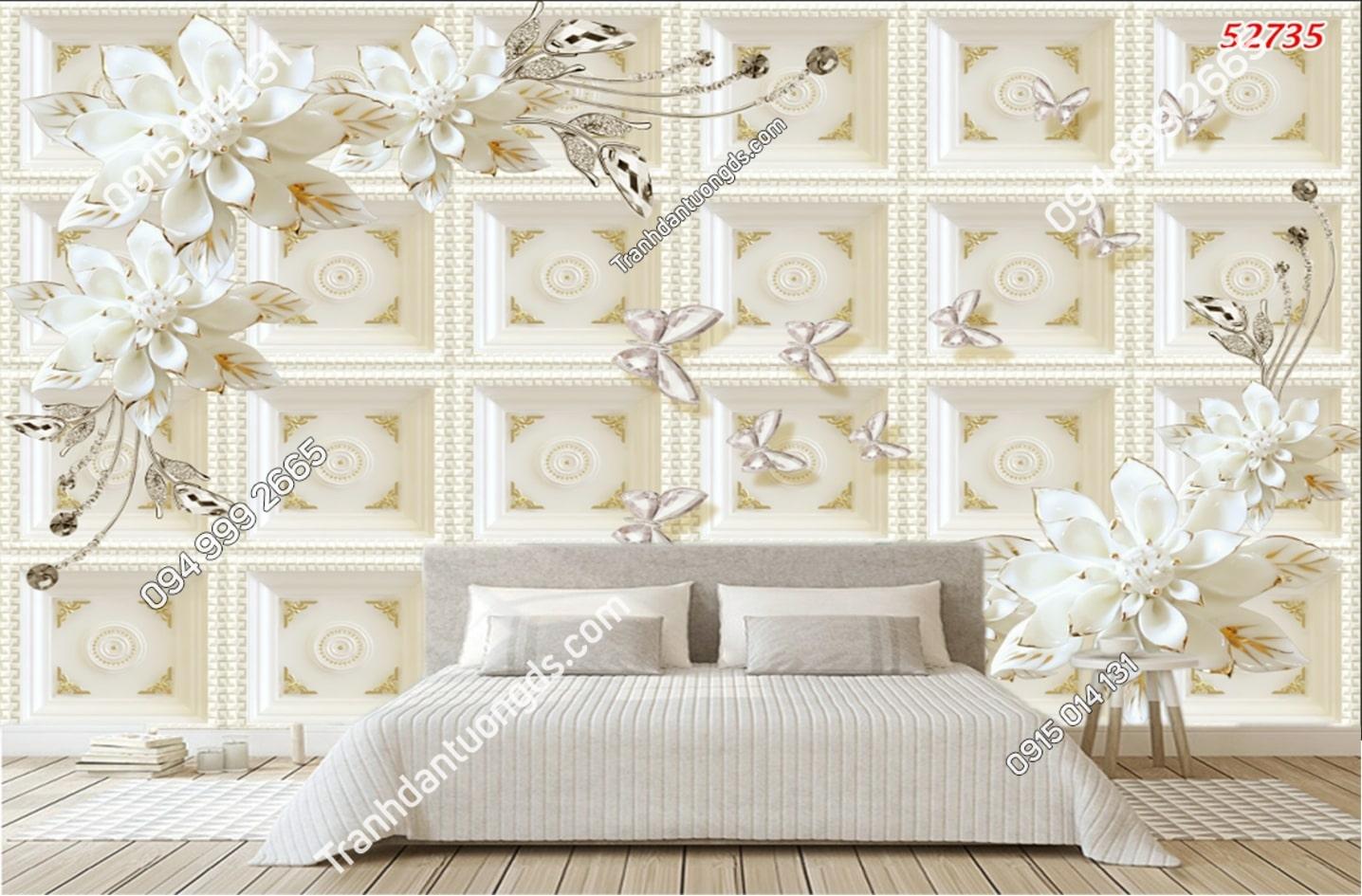 Tranh dán tường hoa 3D trắng giả ngọc 52735