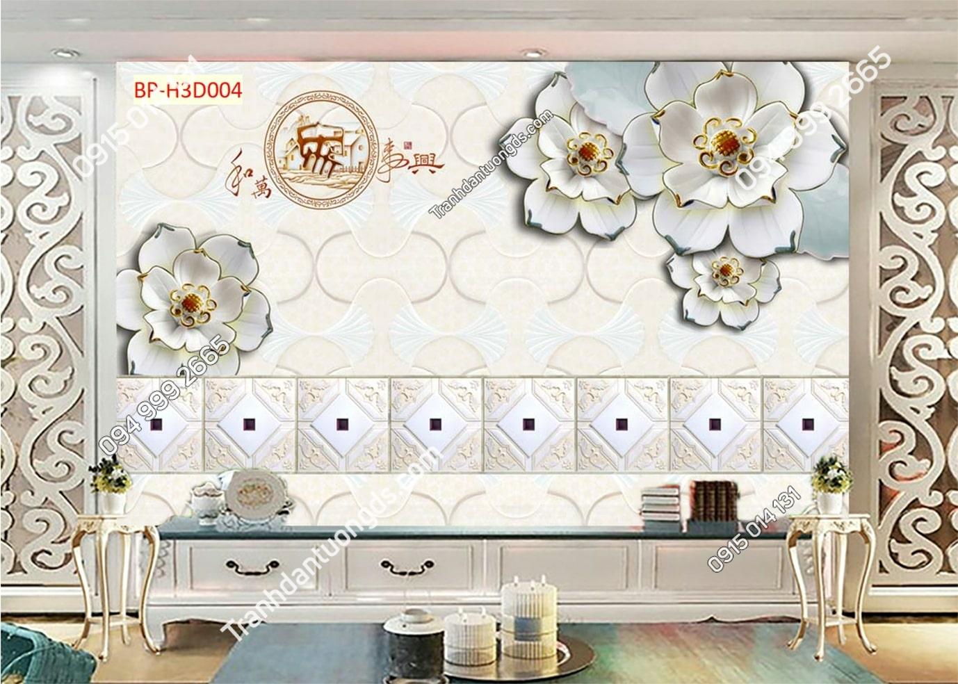 Tranh dán tường hoa 3D trắng giả ngọc H3D004