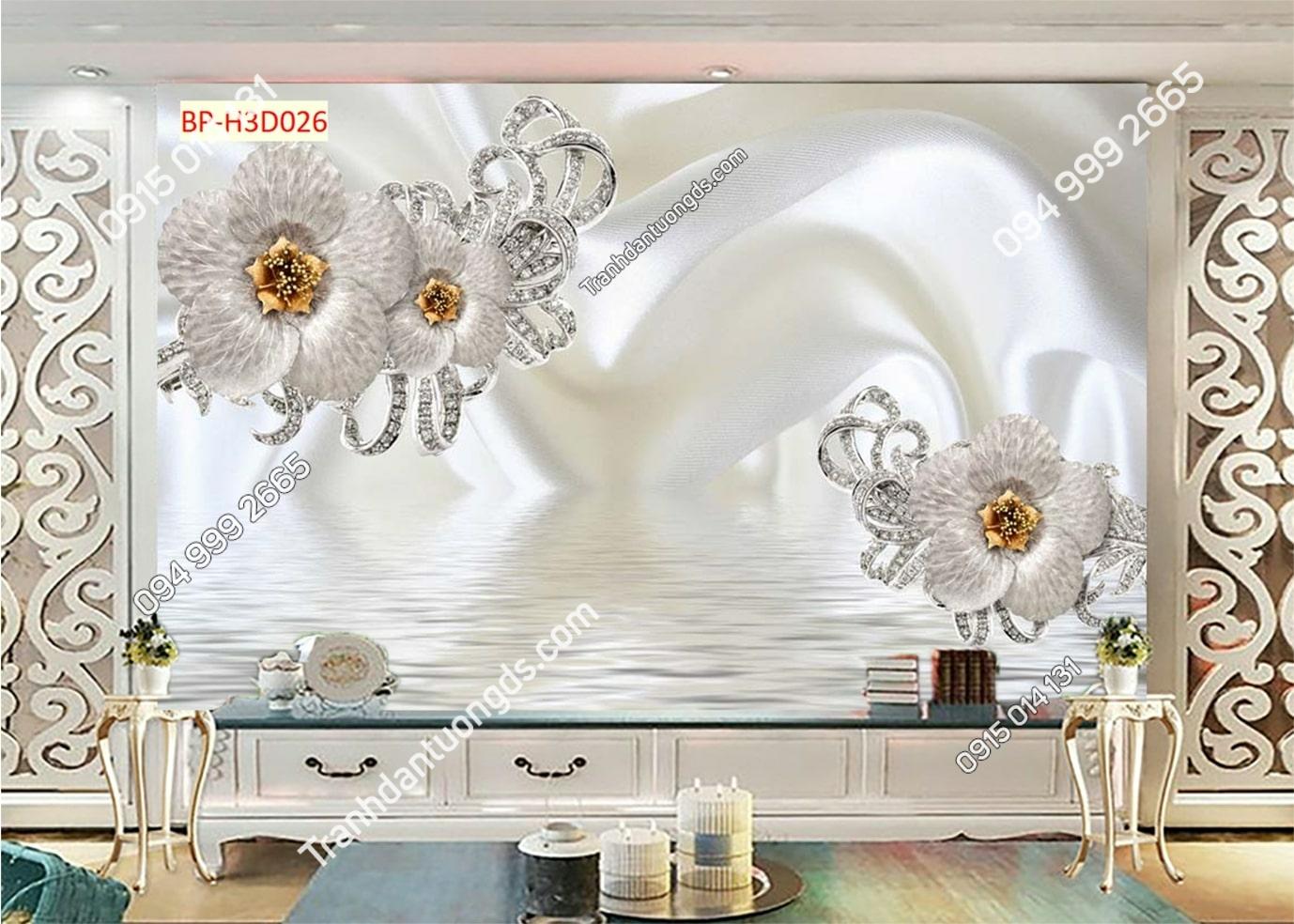 Tranh dán tường hoa 3D trắng giả ngọc H3D026