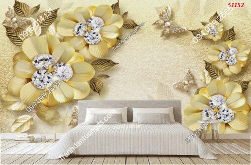 Tranh dán tường hoa 3D vàng kim cương 51152