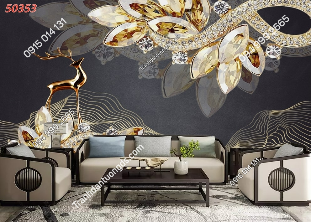 Tranh dán tường hoa 3D vàng ngọc trai 50353