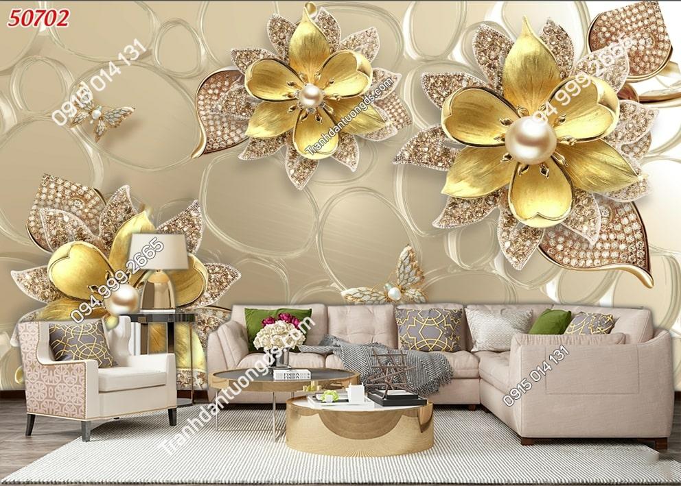 Tranh dán tường hoa 3D vàng ngọc trai 50702