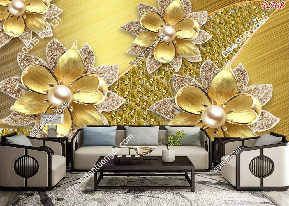 Tranh dán tường hoa 3D vàng ngọc trai 52768