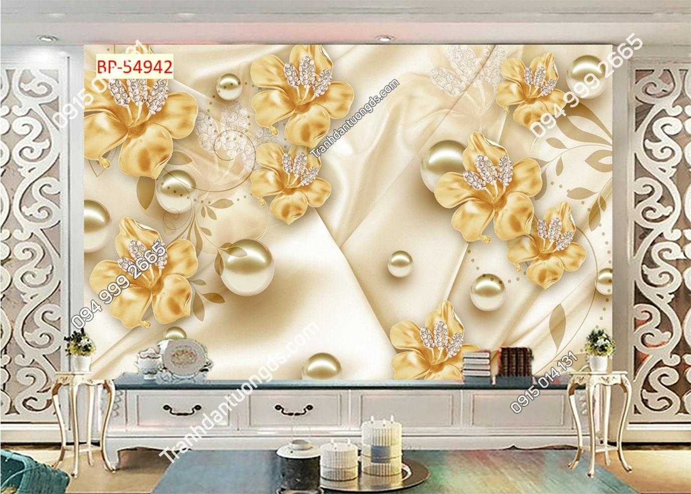 Tranh dán tường hoa 3D vàng ngọc trai 54942