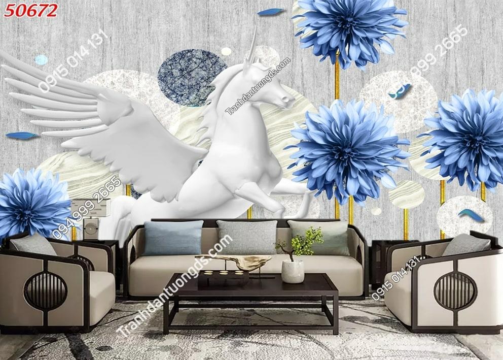Tranh dán tường hoa 3d màu xanh 50672