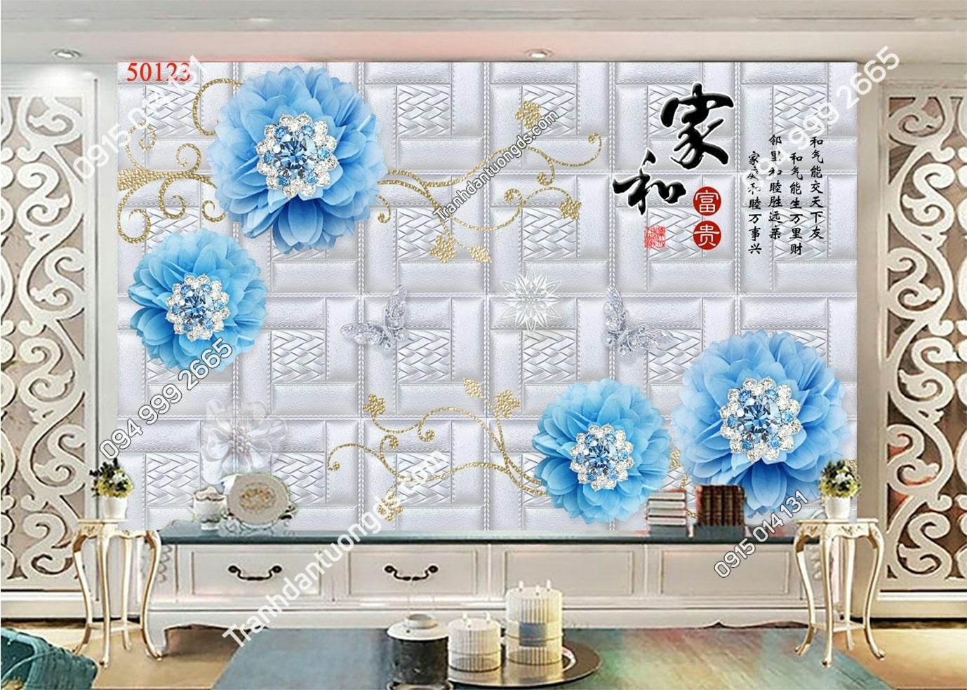 Tranh dán tường hoa 3d màu xanh dương 50123