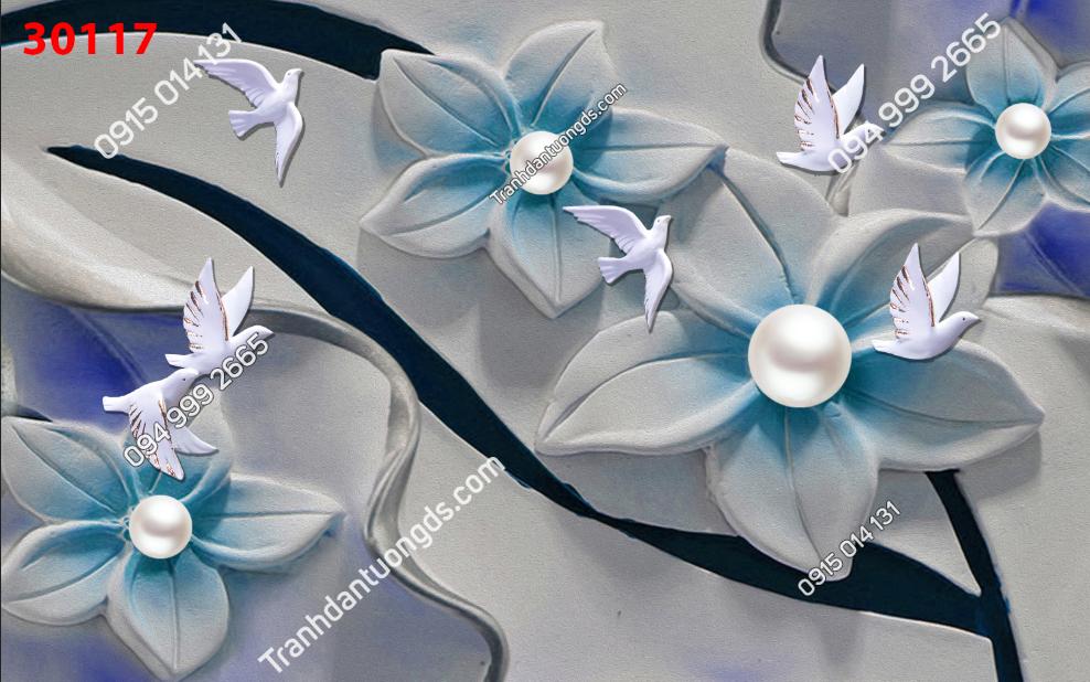 Tranh dán tường hoa 3d màu xanh ngọc 30117