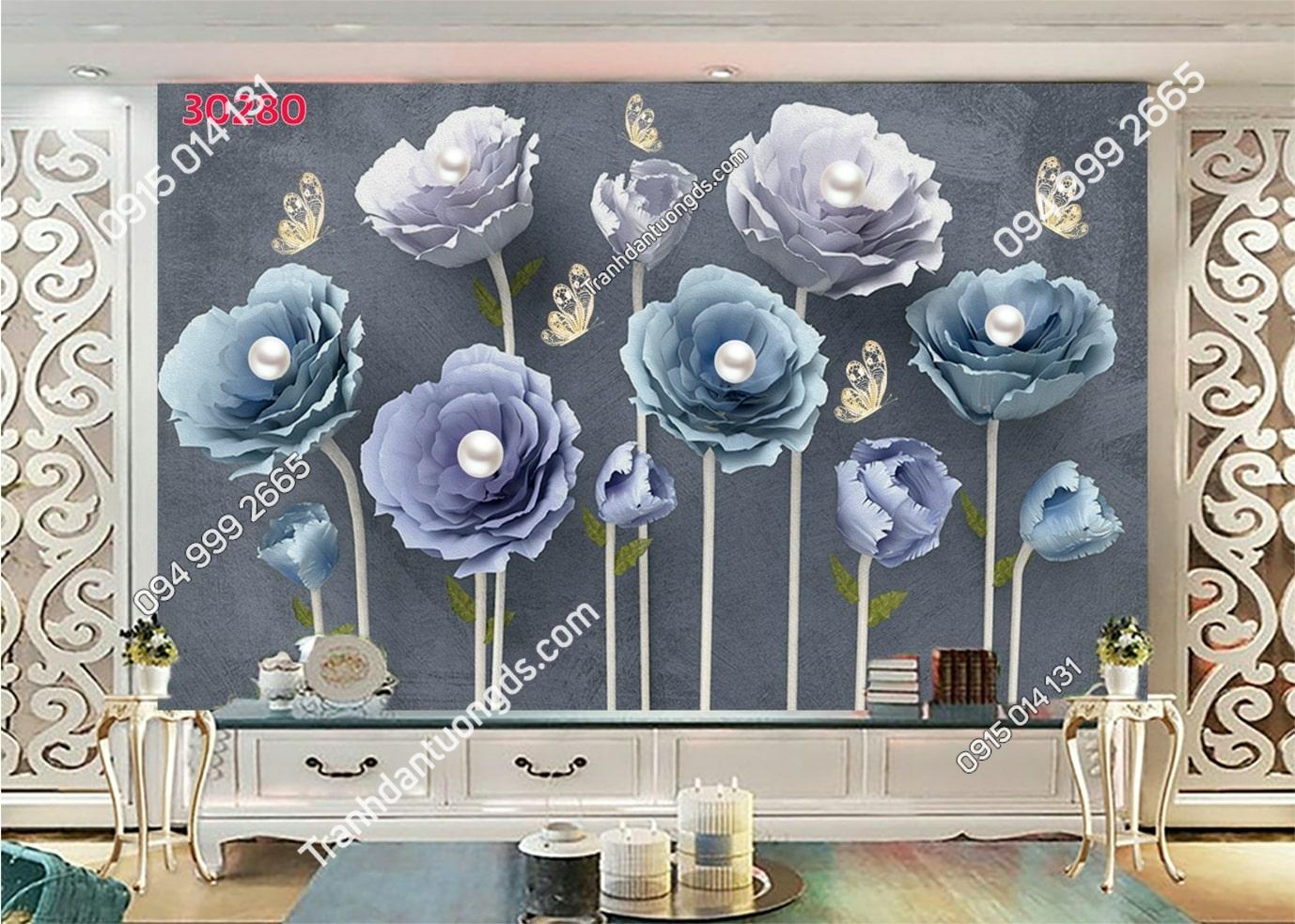Tranh dán tường hoa 3d màu xanh tím 30280