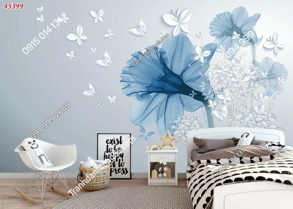 Tranh dán tường hoa 3d màu xanh và bướm 45399
