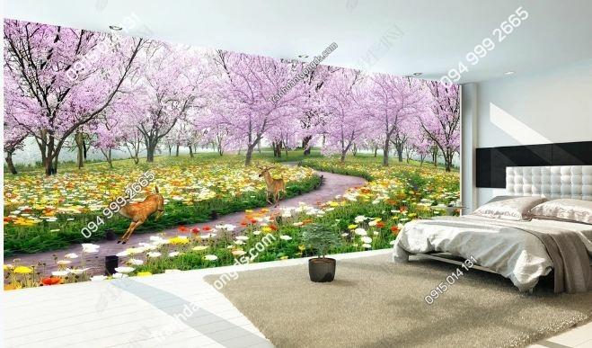 Tranh dán tường hoa anh đào khổ dài DS_14022631