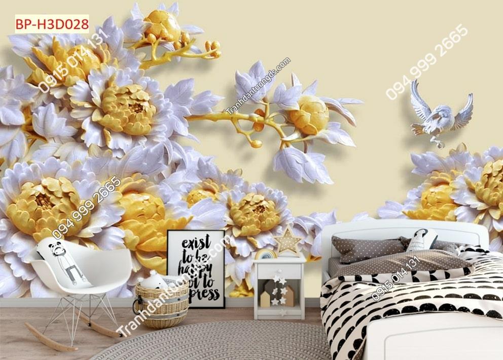 Tranh dán tường hoa điêu khắc vàng dán phòng ngủ H3D028