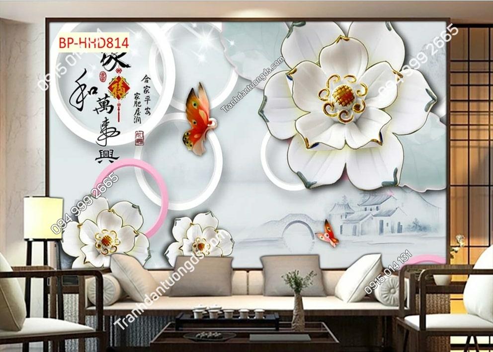 Tranh dán tường hoa giả ngọc HHD814
