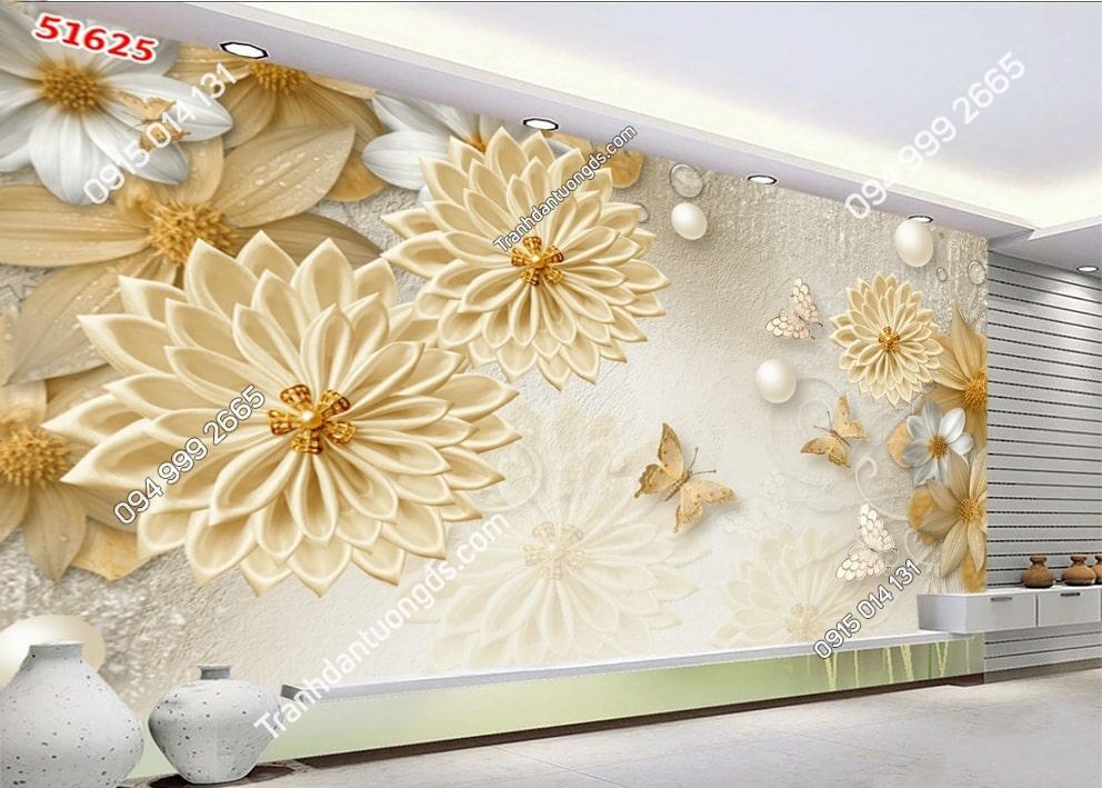 Tranh dán tường hoa giả ngọc vàng 51625