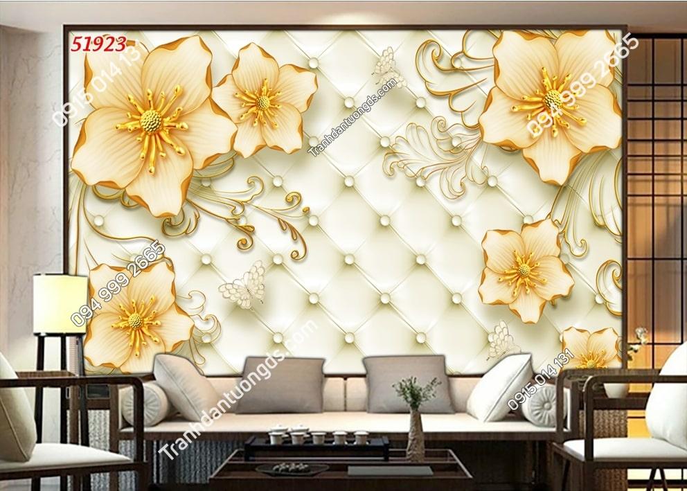 Tranh dán tường hoa giả ngọc vàng 51923