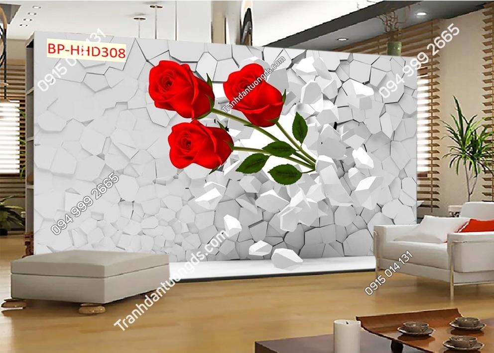 Tranh dán tường hoa hồng 3D màu đỏ HHD308