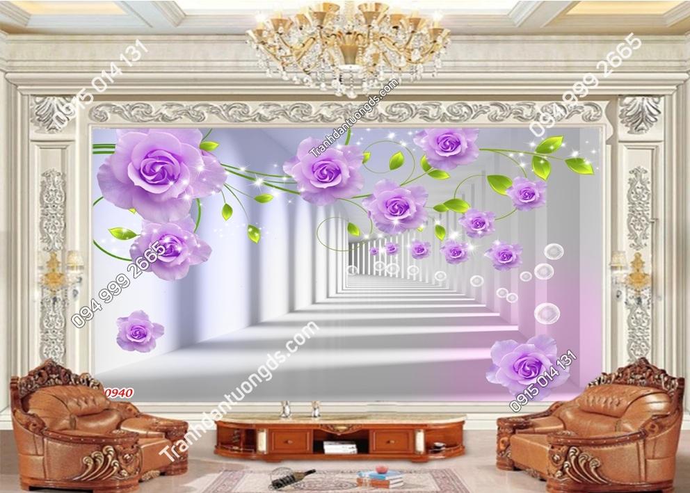 Tranh dán tường hoa hồng 3D màu tím 50940