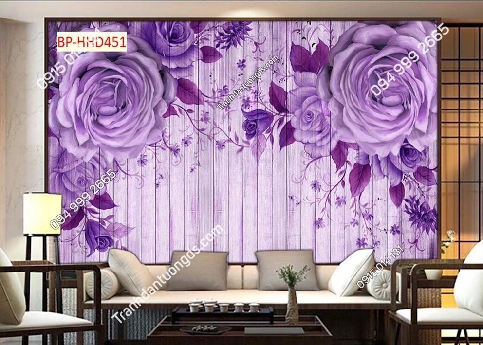 Tranh dán tường hoa hồng 3D màu tím HHD451