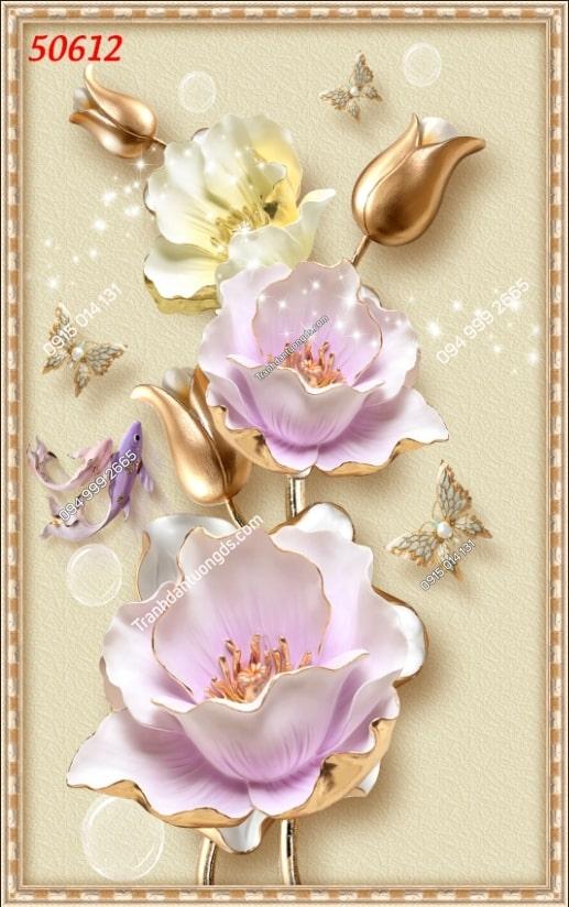 Tranh dán tường hoa khổ dọc 50612