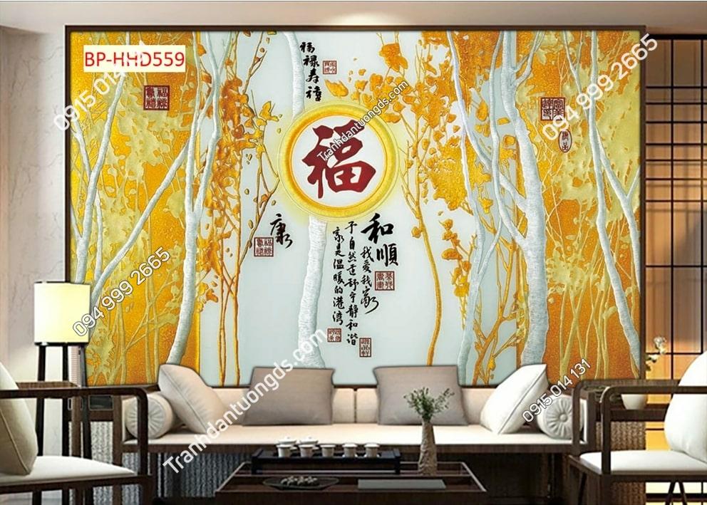 Tranh dán tường hoa lá vàng HHD559