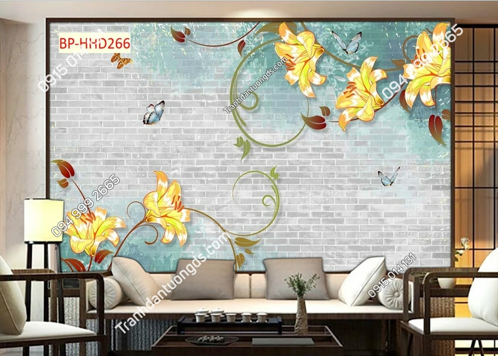 Tranh dán tường hoa leo vàng và bướm HHD266