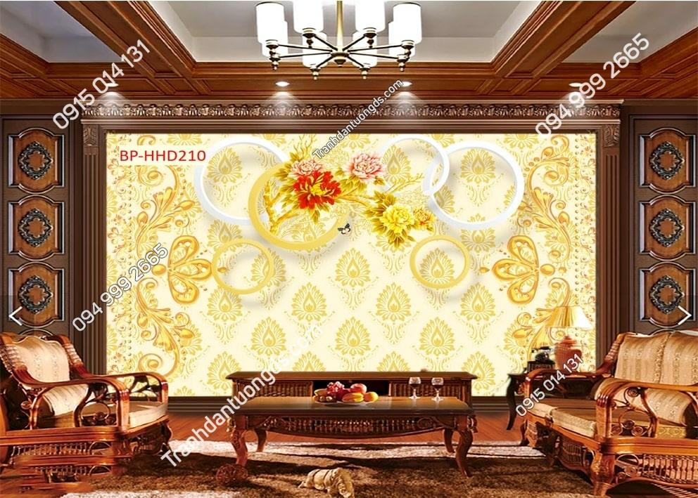 Tranh dán tường hoa mẫu đơn vàng 3D HHD210