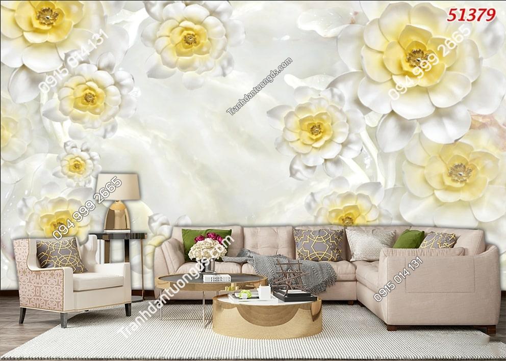 Tranh dán tường hoa nhụy vàng 3d 51379