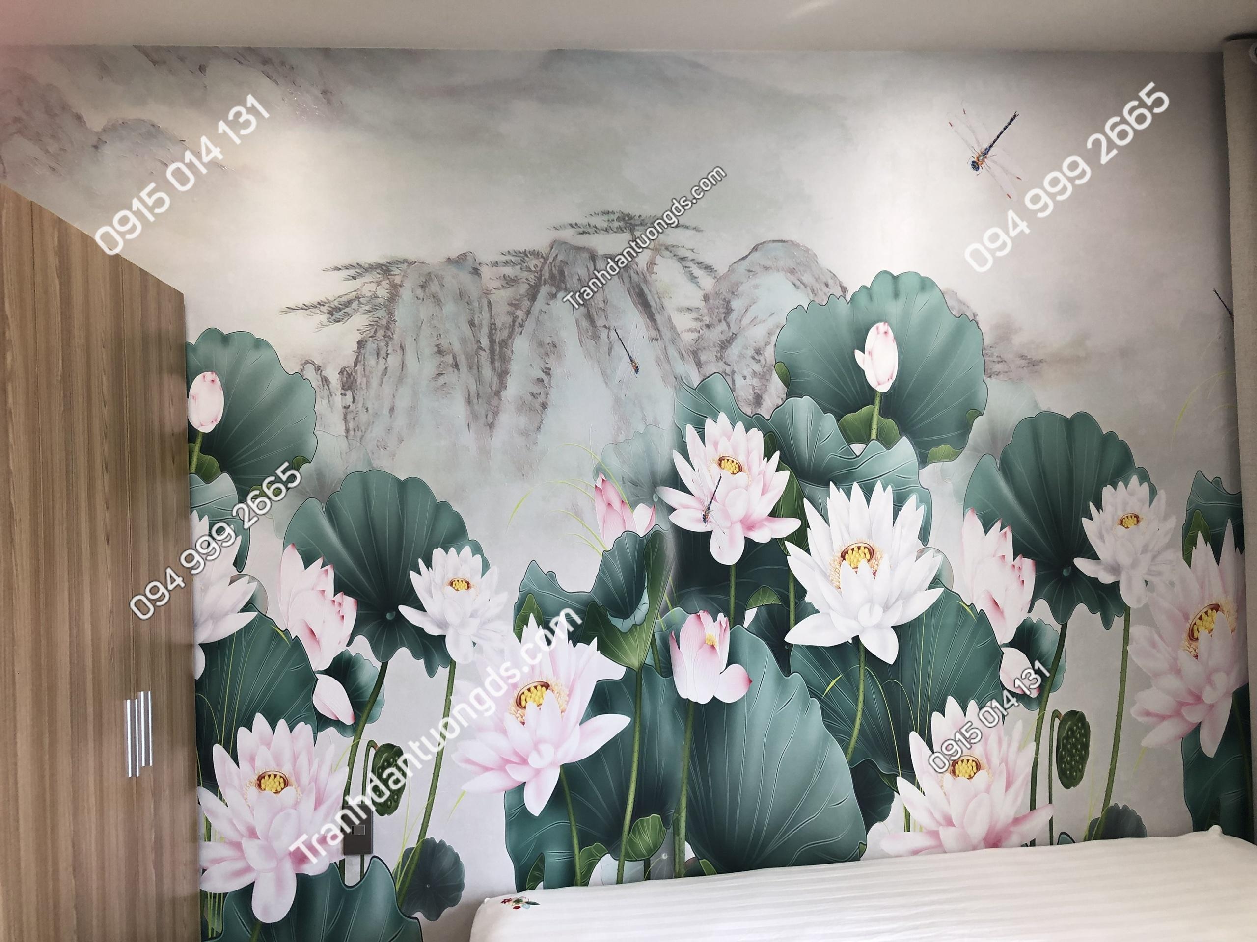 Tranh dán tường hoa sen phòng ngủ 5D