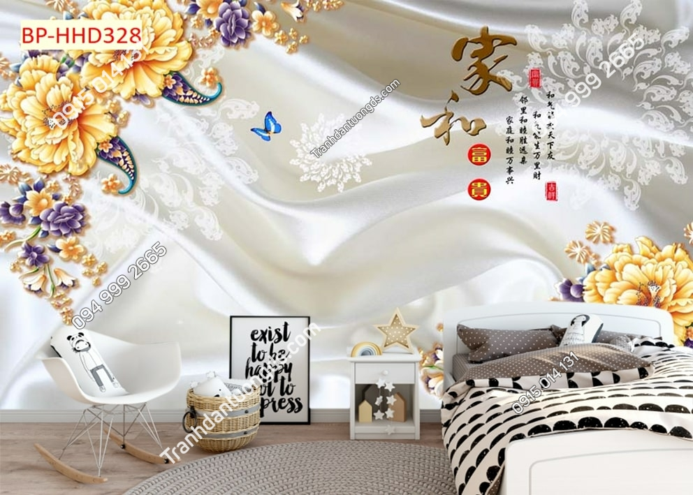 Tranh dán tường hoa vàng bướm dán phòng ngủ HHD328