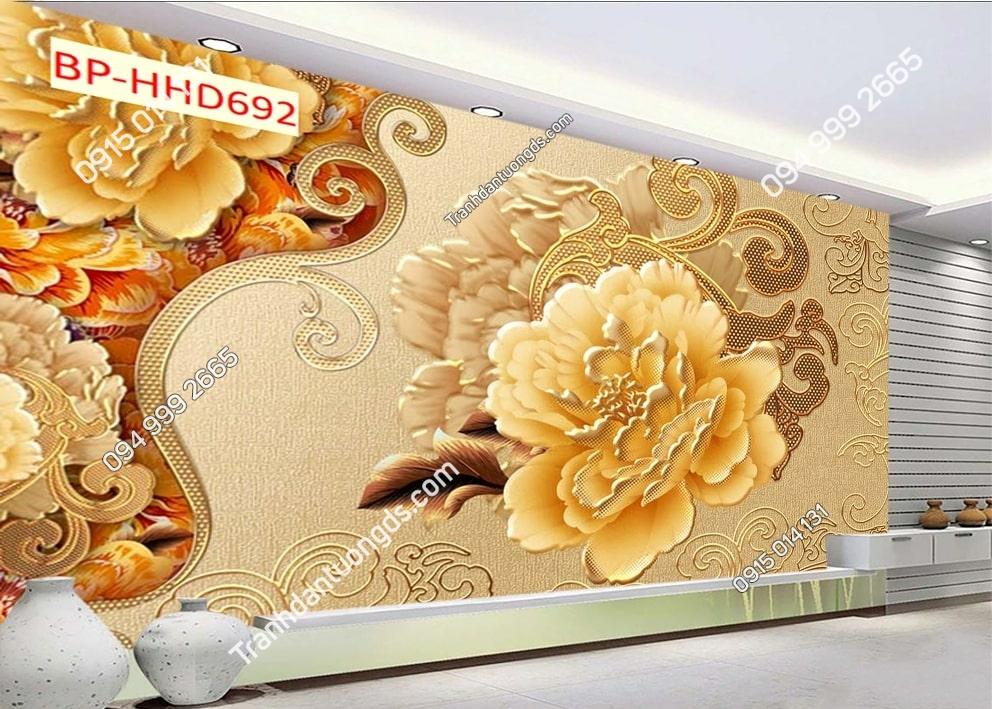 Tranh dán tường hoa vàng dán phòng khách HHD692