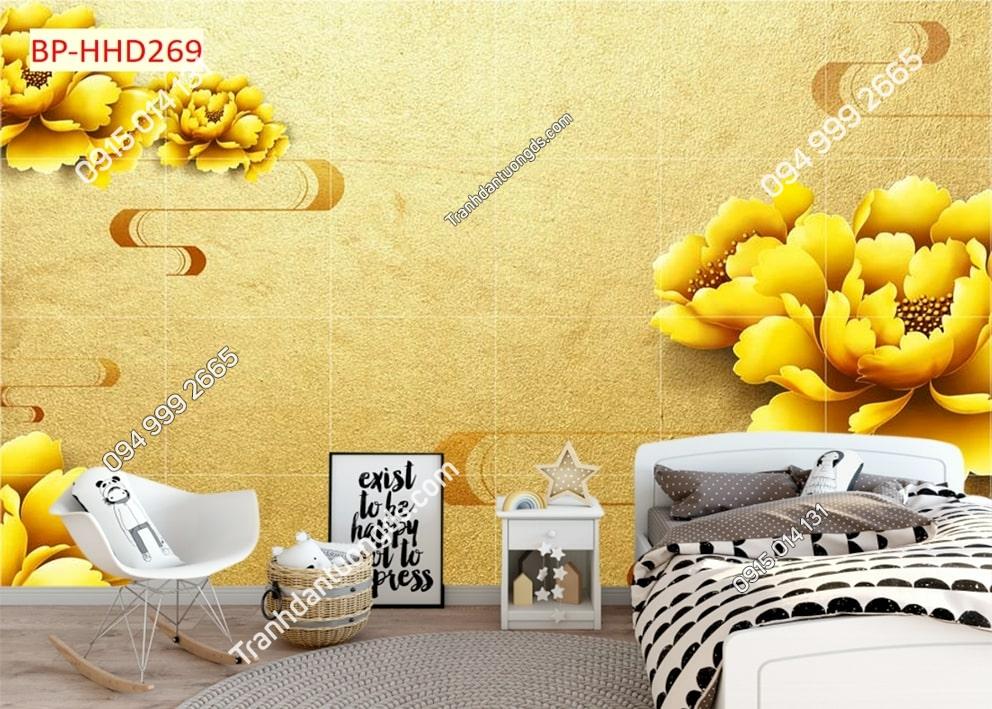 Tranh dán tường hoa vàng dán phòng ngủ HHD269