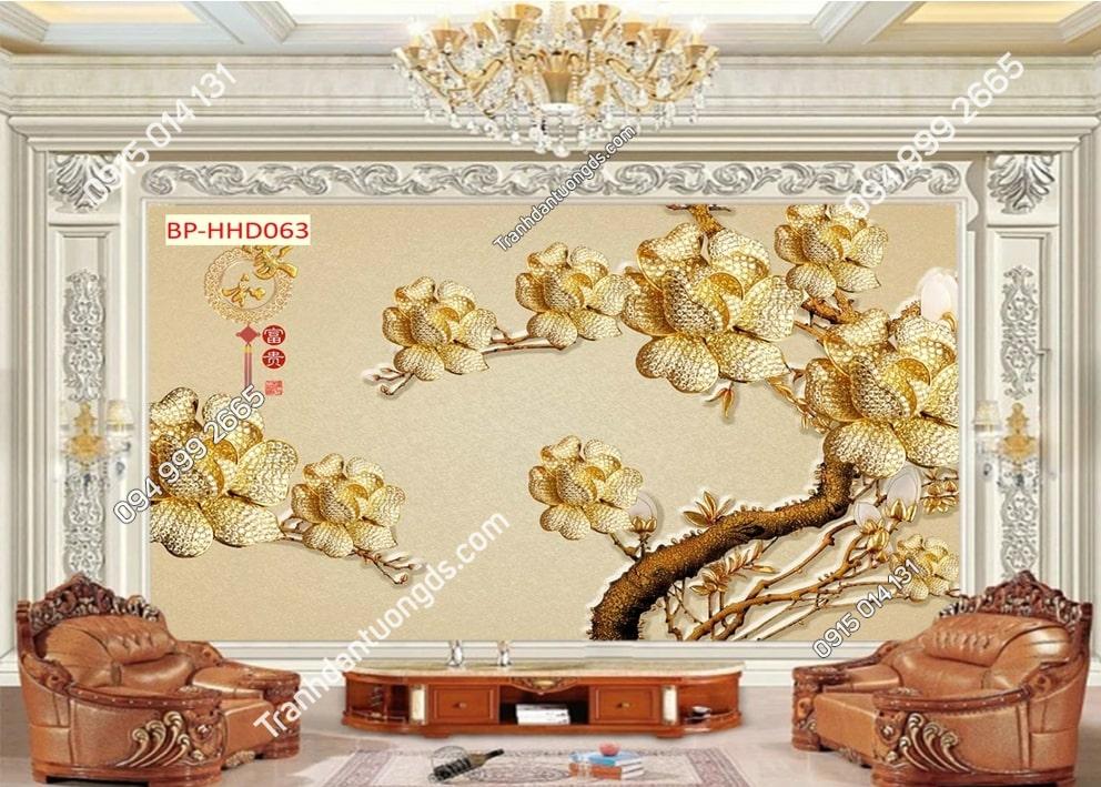 Tranh dán tường hoa vàng giả đá quý 3D HHD063