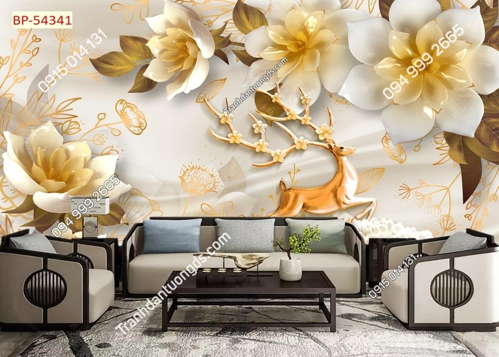 Tranh dán tường hoa vàng giả ngọc 54341