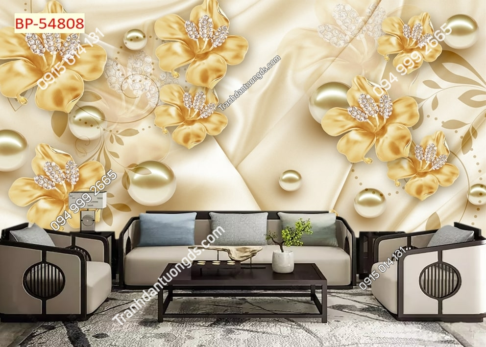 Tranh dán tường hoa vàng giả ngọc 54808