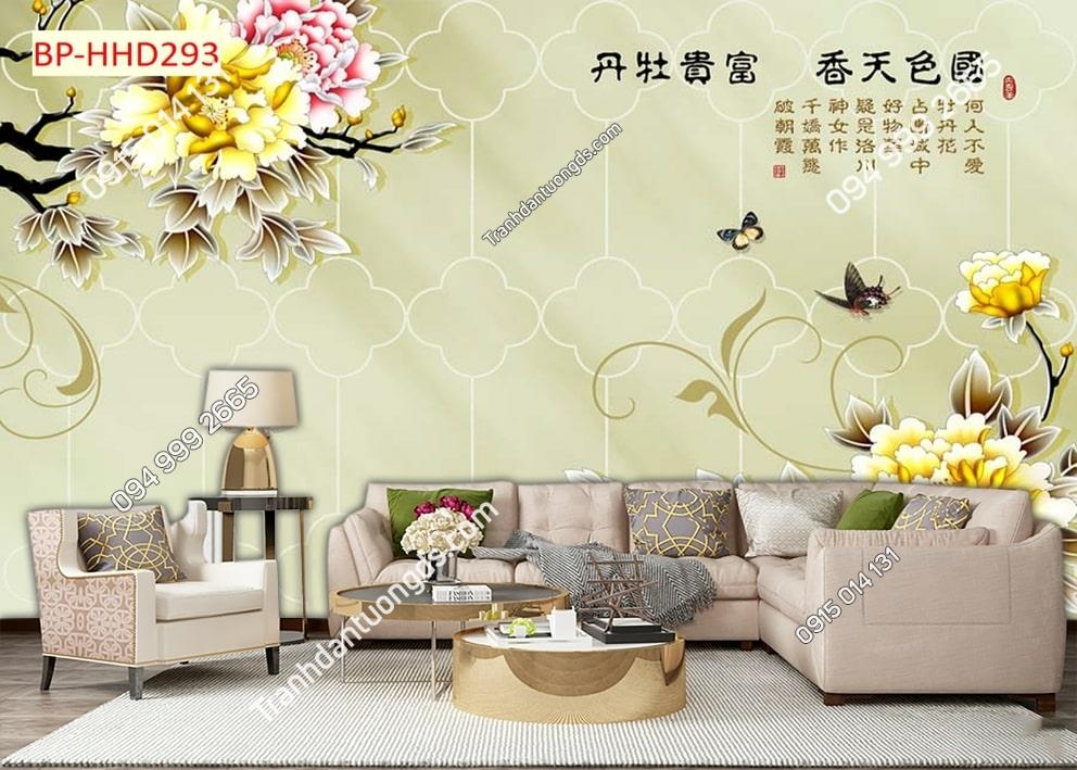 Tranh dán tường hoa vàng và bướm HHD293
