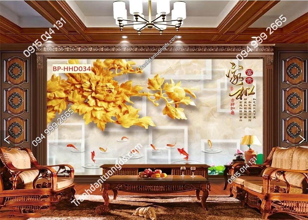 Tranh dán tường hoa vàng và cá HHD034