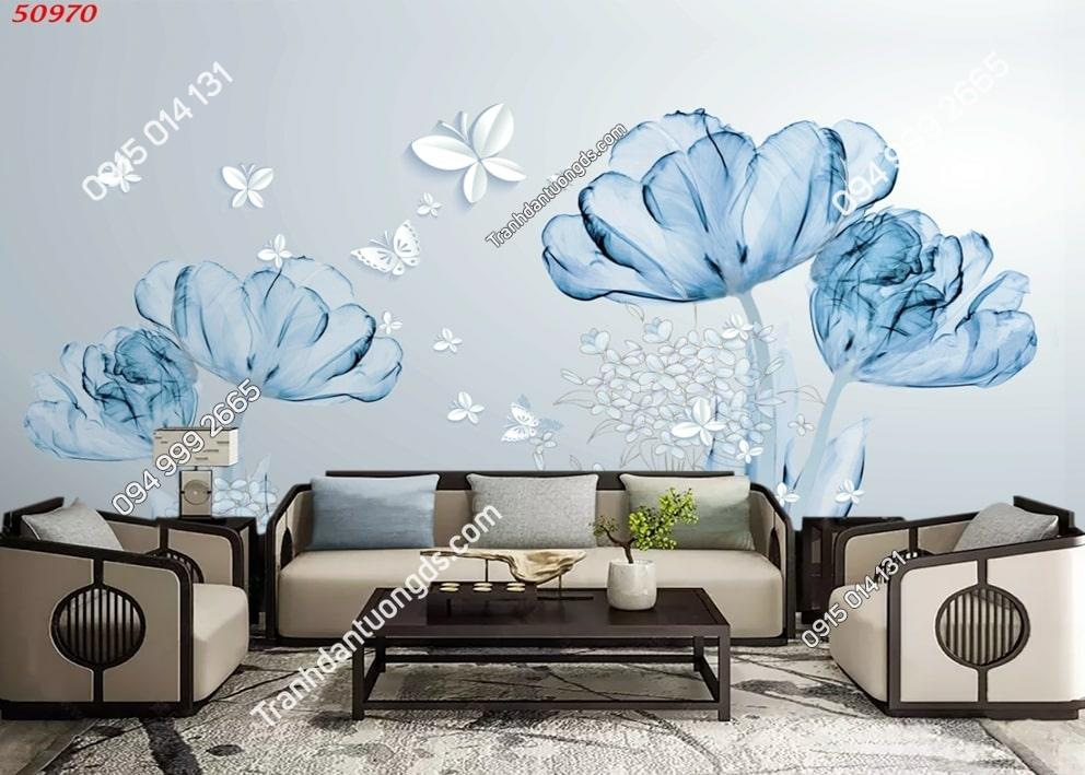 Tranh dán tường hoa xanh 3d dán phòng khách 50970