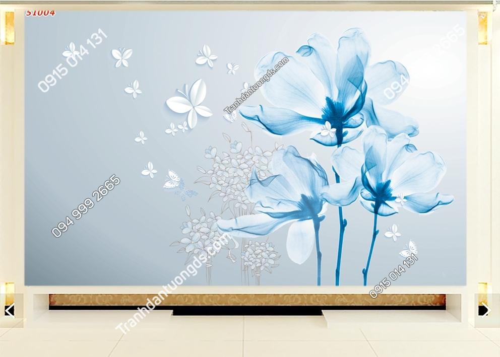 Tranh dán tường hoa xanh 3d dán phòng khách 51004