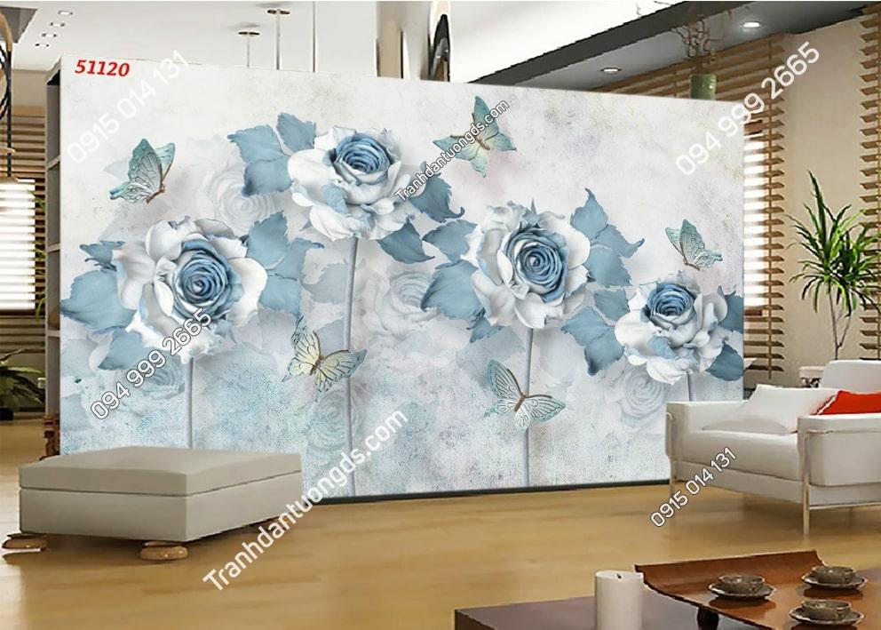 Tranh dán tường hoa xanh 3d dán phòng khách 51120