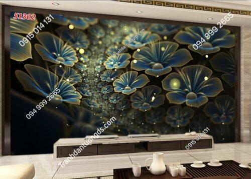 Tranh dán tường hoa xanh 3d siêu đẹp dán sau tivi 51302