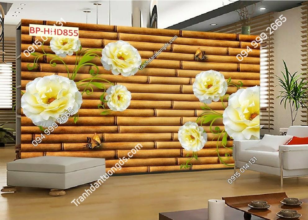 Tranh dán tường hooa nhụy vàng tường tre HHD855