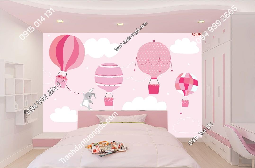 Tranh dán tường khinh khí cầu hồng phòng trẻ em hiện đại 51495