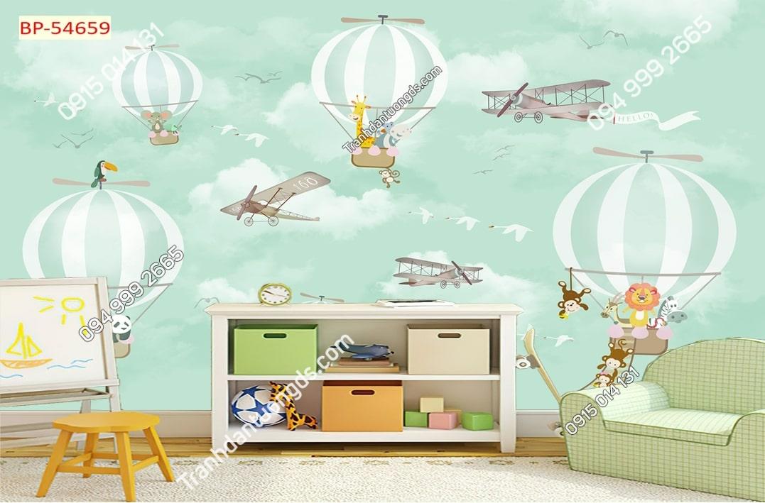 Tranh dán tường khinh khí cầu trẻ em hiện đại 54659