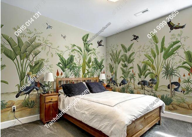 Tranh dán tường khổ dài cảnh rừng lá cây nhiệt đới DS_17805541_FM