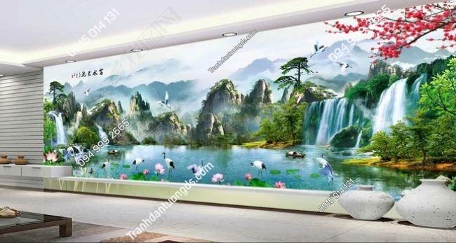 Tranh dán tường khổ dài cảnh sơn thủy DS_14671552_FM