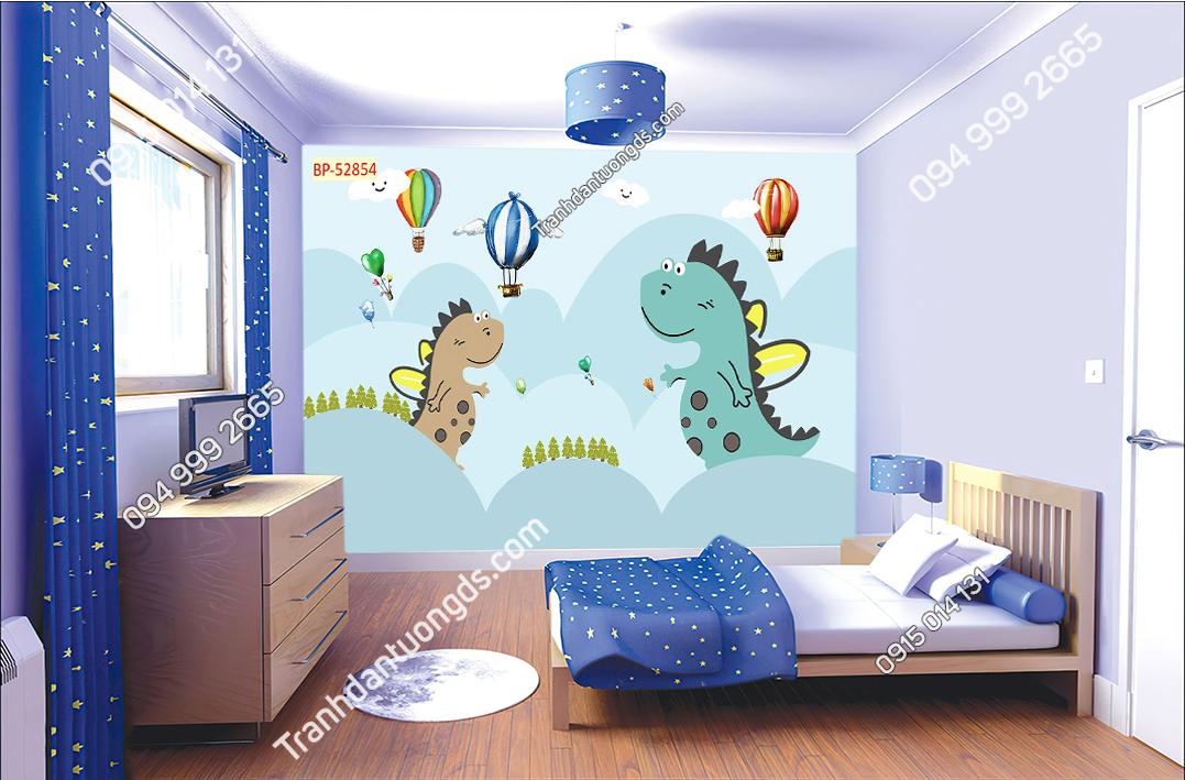 Tranh dán tường khủng long đáng yêu dán phòng bé 52854