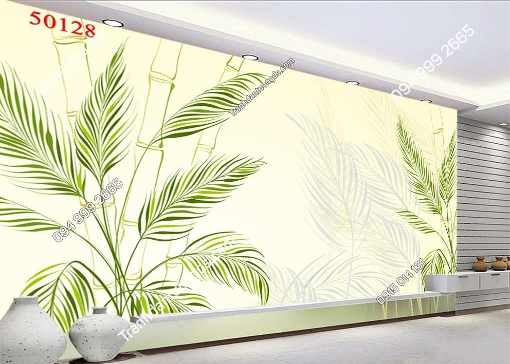 Tranh dán tường lá cây 3d màu xanh 50128