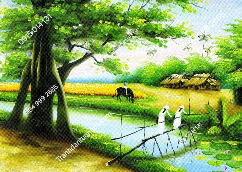Tranh dán tường làng quê Việt Nam DQ02