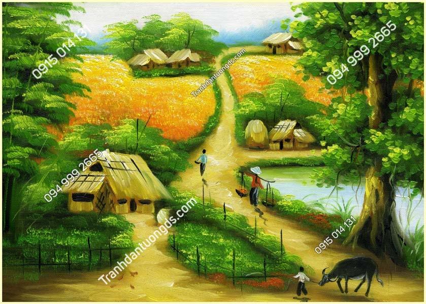 Tranh dán tường làng quê Việt Nam DQ04